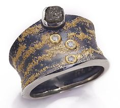 Ross Coppelman - Tidal Sands Ring. 22K Gold Granulation, 18K Gold & Sterling Silver with Natural Diamond & Cut Diamonds. Massachussets. Circa Early 21st Century.
