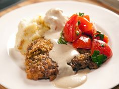 Chicken Fried Steak and Marinated Tomato Salad (From Show The Pioneer Woman) Looks SOO good! Can't wait to Try.