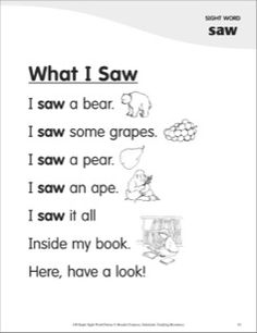 What I Saw (Sight Word 'saw'): Super Sight Words Poem