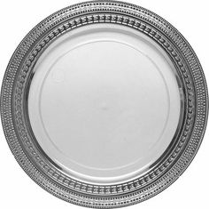 """Chic Disposable Clear with Silver Rim 10.25"""" Dinner Plate - 100 Plastic Plates #weddings #table #party #supplies #food #drink #event #holiday #fancy #elegant #disposable #plastic"""