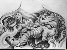 Ideas Tattoo Elephant Buddha For 2019 Hindu Tattoos, Ganesh Tattoo, God Tattoos, Buddha Tattoos, Tattoo Script, Tattoo Fonts, Chest Tattoo, Back Tattoo, Ozzy Tattoo