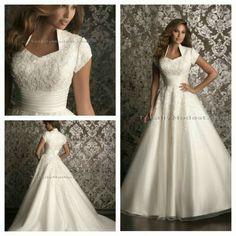 gorgeous modest wedding dress with my favorite neckline. Modest Wedding Gowns, Modest Dresses, Wedding Attire, Pretty Dresses, Bridal Dresses, Beautiful Gowns, Gorgeous Dress, Dream Dress, Wedding Styles