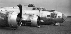 "B-17 "" Sweet Melody ""on training flight landed short of runway, soft earth tore off wheels"