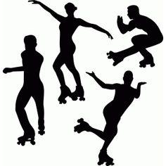 Silhouette Design Store - View Design #80125: artistic skating wheels 1
