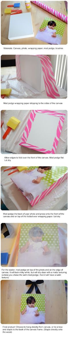 Customize your own canvas photo using wrapping paper
