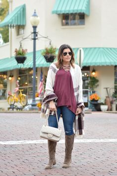 Burgundy Lace Up Top with Old Navy, plaid scarf, fall fashion, sole society, suede boots, maroon, ray bans, winter fashion, ripped jeans, boots, winter, cozy, scarf