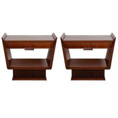 Pair of walnut 1940's side tables or night stand. | From a unique collection of antique and modern side tables at http://www.1stdibs.com/furniture/tables/side-tables/