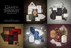 Game of Thrones wedding invitations inspired by the Houses of the Stark, Targaryen, Lannister, Baratheon and Tyrell families.