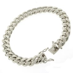 Unisex 925 Sterling Silver Rhodium Plated Miami Curb 8 Inches Id Bracelet Always Buy Good Fine Jewelry