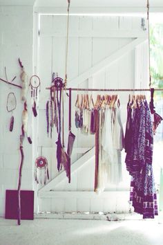 love this idea to hang clothes outside of closet too