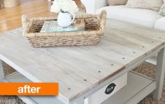 Barnwood IKEA coffee table hack http://www.apartmenttherapy.com/before-amp-after-barnwood-coffee-table-ikea-hack-city-farmhouse-185493