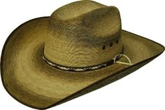 86de377ceb816 This Adult Palma Verde Truman Torched Straw Cowboy Hat is a cool old west  distressed look. Torched technology applied to genuine palma verde straw on  a ...