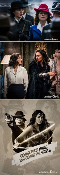 "loudestdork: Peggy Carter & Diana Prince In another universe, they would be best friends. They would share stories, talked about how they both had a ""Steve"" in their lives, and they wou be kicking ass & changing the world. Marvel Heroes, Marvel Dc, Marvel Comics, Marvel Gems, Stan Lee, Black Widow Movie, Fandom Crossover, Dc Movies, Gal Gadot"