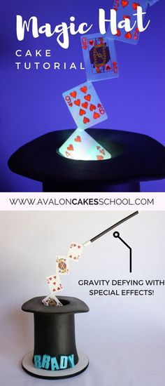 Learn how to make this gravity defying magic hat cake with special effects! Anti Gravity Cake, Gravity Defying Cake, Magic Birthday, Themed Birthday Cakes, Magician Cake, Magician Party, Cake Pop Tutorial, Cake Structure, Foundant