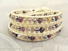 Purple stone wrap bracelet with crystal on white ivory polyester cord