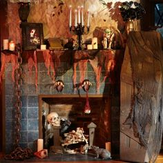 déco de cheminée pour Halloween