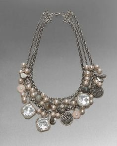 Crystal and Pearl Statement Necklace by St. John Collection at Neiman Marcus.
