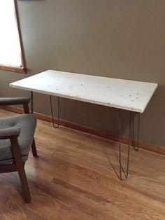 Hairpin leg wooden desk table on Etsy