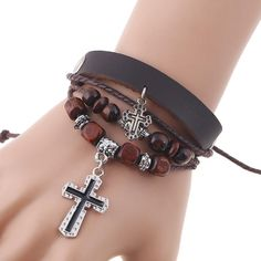 [Visit to Buy] Leather Cross Bracelets For Women Men Vintage Male Bracelets Wooden Ball Beads Bracelets Handmade Rope Braided Charm Bracelet #Advertisement