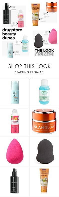 """Drugstore Beauty Dupes: Skin Care 101"" by chakragoddess ❤ liked on Polyvore featuring beauty, Nip+Fab, Mario Badescu Skin Care, GlamGlow, beautyblender and Bobbi Brown Cosmetics"