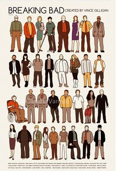 Breaking Bad Cast ~ Poster by Claudia Varosio