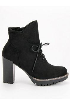 Čierne členkové čižmy na platforme Nio Nio Oxford Shoes, Platform, Ankle, Women, Fashion, Moda, Wall Plug, Fashion Styles, Heel
