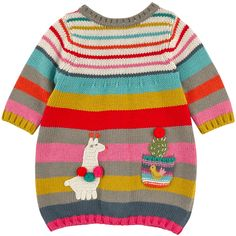 Cotton and viscose knit cardigan with multicoloured stripes. Round neckline and long sleeves. Small snap buttons in the back. Mini knit pocket on the front. Baby Knitting Patterns, Baby Patterns, Pull Bebe, Big Knit Blanket, Baby Pullover, Big Knits, Knit Dress, Knit Cardigan, Baby Outfits Newborn