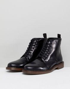 048a821d4ce WALK LONDON | Walk London Darcy Hi Shine Leather Lace Up Boots Sorte Støvler,  Kampstøvler