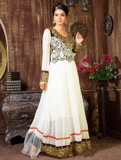 White Georgette Anarkali Suit with Embroidery Work