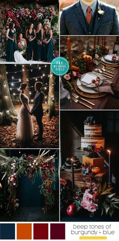 Autumn wedding color palette in dark blue & autumn colors we. - Autumn wedding color palette in dark blue & autumn colors wedding ceremony, rom - Fall Wedding Colors, Autumn Wedding, Blue Wedding, Wedding Ceremony Decorations, Wedding Themes, Fall Color Palette, Color Palettes, Color Combos, Perfect Wedding