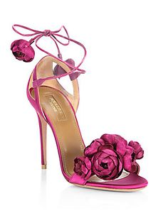 Aquazzura Wild Flower Velvet Ankle-Wrap Sandals