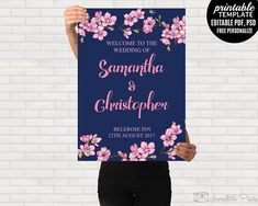 Navy and Pink Wedding Poster by Incredible Prints on @creativemarket