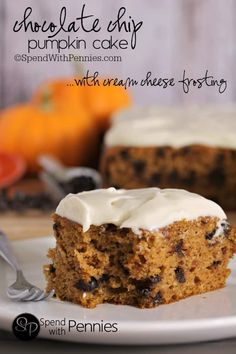 Chocolate Chip Pumpkin Cake with Cream Cheese frosting.  If you are looking for an amazing pumpkin cake you've found it!  This cake is delicious, moist and definitely a fall favorite!