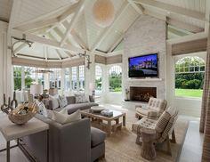 beautiful calm neutral sun room, Hamptons home,