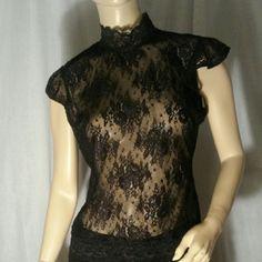 BCBG Blouse Lace turtleneck blouse BCBGMaxAzria Tops Blouses