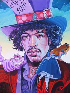 Jimi Hendrix + Alice in Wonderland Por Dave McDowell » www.macdowellstudio.com