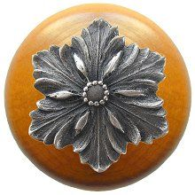 Opulent Flower Wood Knob in Antique Pewter/Maple wood finish…