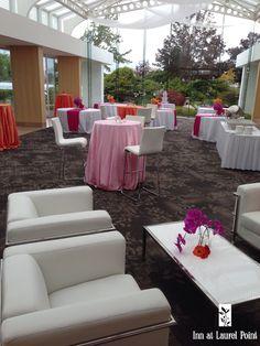 Pink orange Wedding reception - Inn at Laurel Point, Victoria BC