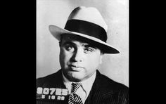 1930 mug shot of gangster and Chicago mob king Al Capone, whose crime syndicate remains one of the most notorious in American history. Capone was later imprisoned on federal income tax evasion charges.