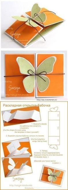 Kelebekli Bayram Kartı Yapımı ~ Evimden Mutfağımdan Tarifler