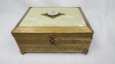 Brass and Enamel Music-Jewelry Box Musical Jewelry Box, Music Jewelry, Music Boxes, W 6, Storage Chest, Decorative Boxes, Enamel, Brass, Vitreous Enamel