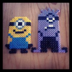 Minion and Evil Minion perler beads by tacohenry