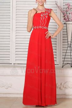 Chiffon One Shoulder Floor Length A-line Prom Dress with Crystal [2520] - $357.00 : Wedding Dresses