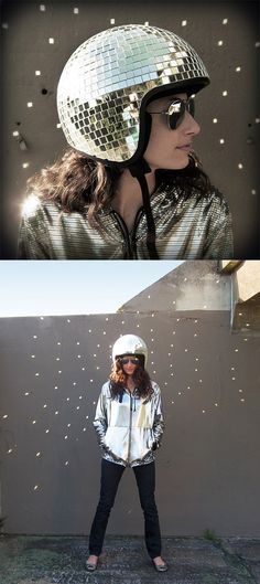 scootering outfit is this Disco Ball Motorcycle Helmet & Jacket. @Betabrand #fashion #vespavita