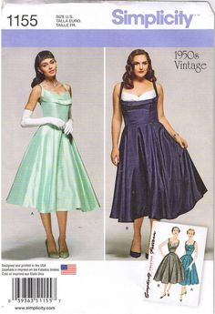 50s Retro Rockabilly V-Back Dress Simplicity Sewing Pattern 1155 Plus Sz 20W-28W #Simplicity #1950sRetro