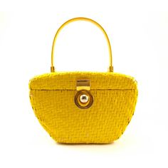 1960s Koret Yellow Basketweave Purse, Pretty Vintage Mod Wicker Purse (€30) ❤ liked on Polyvore featuring bags, handbags, yellow hand bags, white hand bags, white handbags, basket weave purse and white purse