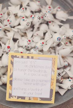 Super cute favor idea for a Christmas wedding.