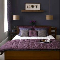 Paint Colors for Small Bedrooms Application Tips and Tricks : Purple Bed Cover Classic Pendant Lamp Dark Blue Paint Colors For Small Bedroom...
