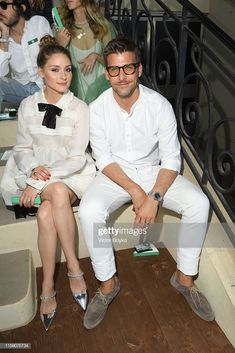 Olivia Palermo and Johannes Huebl attend Miu Miu Club event at Hippodrome d'Auteuil on June 2019 in Paris, France. (Photo by Victor Boyko/Getty Images for miu miu) Milan Fashion Weeks, New York Fashion, Olivia Palermo Street Style, Olivia Palermo Lookbook, Tribeca Film Festival, City Ballet, Armani Prive, Spring Summer 2018, Paris France