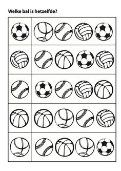 Sports matching balls activity page Preschool Writing, Kindergarten Math Worksheets, Worksheets For Kids, Toddler Activities, Preschool Activities, Teaching Kids, Kids Learning, Visual Perception Activities, School Sports